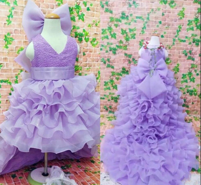 Purple High Low Flower Girl Dress For Weddings Ruffles Layered  Big Bow Best Girls Pageant Gowns Kids Formal Wears Custom MadePurple High Low Flower Girl Dress For Weddings Ruffles Layered  Big Bow Best Girls Pageant Gowns Kids Formal Wears Custom Made