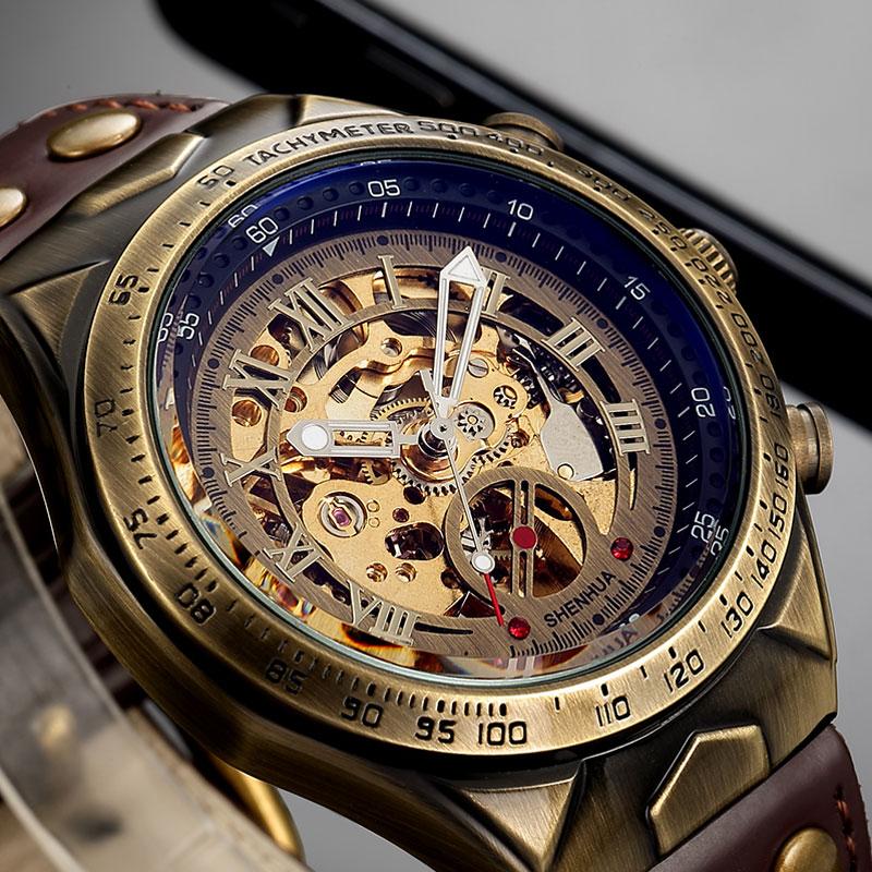 HTB1dDARajzuK1RjSspeq6ziHVXaT Mechanical Watch Men Automatic Watch Mens Skeleton Watches Bronze Leather Steampunk Transparent Vintage Sport Wristwatch Male