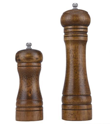 30Pcs Lot Wooden Salt Pepper Table Kitchen Rubberwood Grinder Shaker Spice Mill Pots With Ceramic Grinding