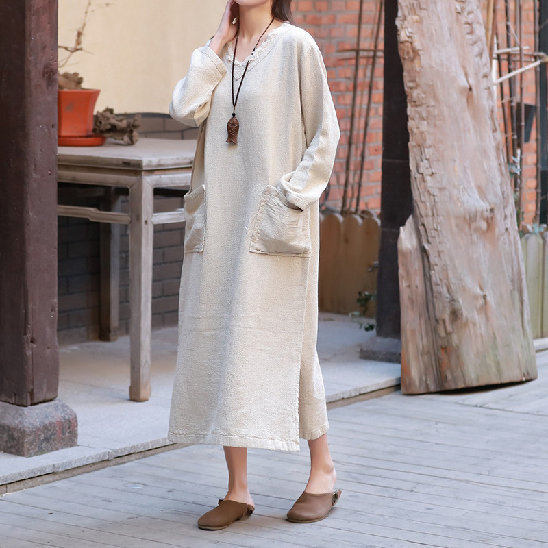 Vintage Women Gown Cotton Linen Robes Spring New V-Neck Long Sleeve Pockets Plus Size Women Cloths Soft Gown