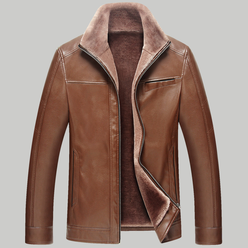 Winter Warm 2018 New Design Fashion Fur Inside PU Leather Jacket Thick 4 Colors Mens Leather Jacket PU leather jackets casual