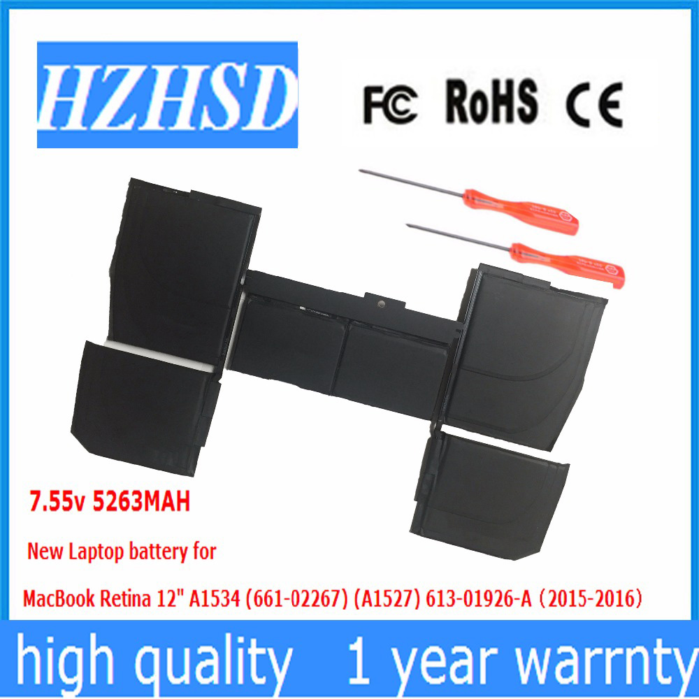 7.55V 5263MAH New Original Laptop Battery for Apple macbook pro retina 12 A1534 A1527 2015 2016year image