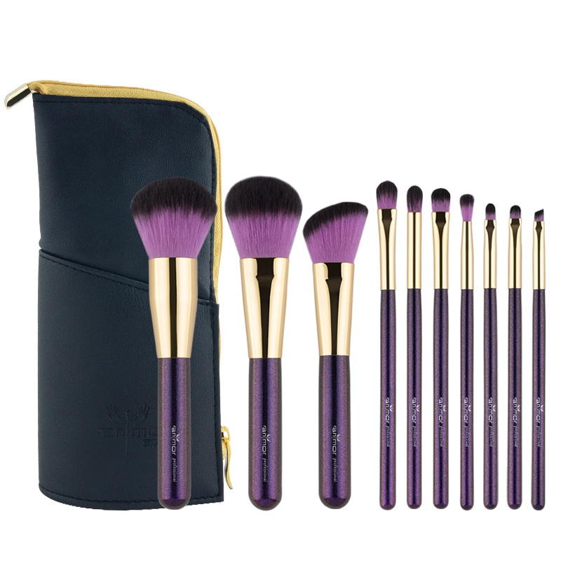 Purple Makeup Brushes Set Soft and Synthetic