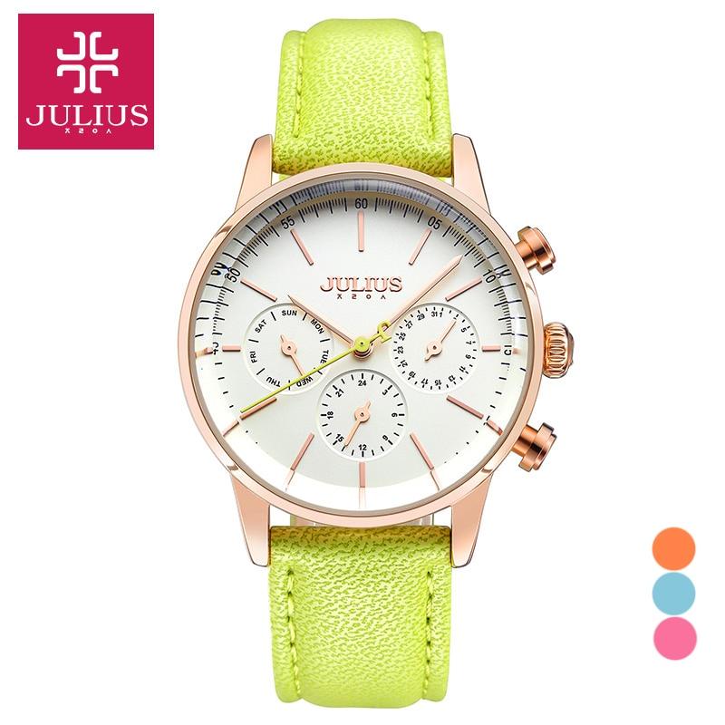 Top Julius Women's Lady Wrist Watch Luxury Hours Dress Sport Leather Auto Date School Student Girl Valentine Birthday Gift 862