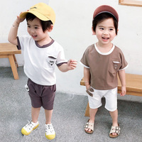 New Fashion 2019 Children Sets For Kids Baby Boys Clothes Gray +White Short Sleeve Fitted Soft Hot Sale Summer Cloth New Styles