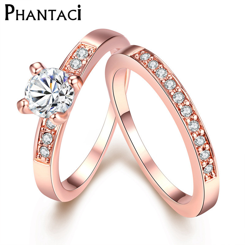 Luxury 2 Pcs CZ Crystal Set Double Rings Female Gold Color Wedding Brand Rhinestone Engagement Finger Ring For Women Jewelry