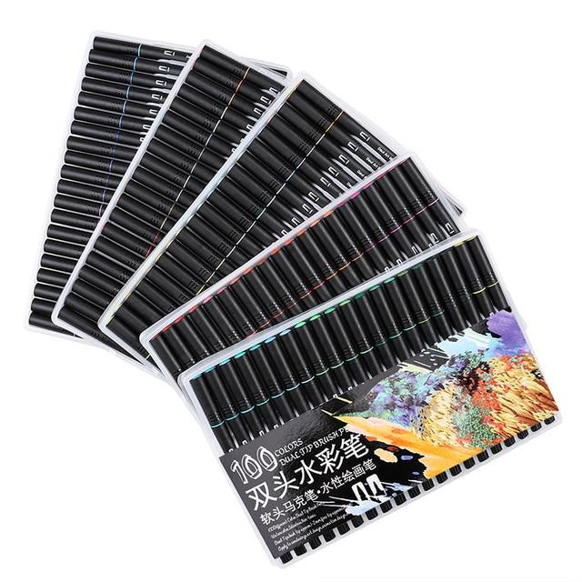 Набор кистей с двумя наконечниками, 60/72/100 цветов, на водной основе, для рисования, акварельные маркеры, школьные принадлежности