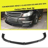 For Mercedes Benz C Class W204 C204 AMG C63 Sedan Coupe 2012 2014 Carbon Fiber / FRP Front Bumper Lip Spoiler V Style