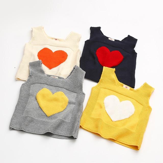 Hart Gebreide Meisjes Trui Mode Kids Haak Vest Voor Meisje Katoenen