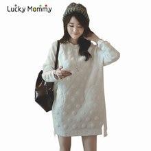 Blanco vestido de maternidad otoño invierno vestidos embarazadas mujeres tridimensional punto de la onda de maternidad ropa embarazo ropa