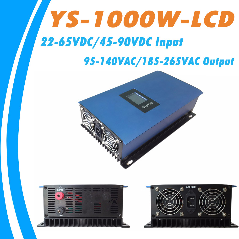1000W Solar Pure Sine Wave MPPT On Grid Tie Inverter DC22-65V/45-90V Input to AC110V/230V Output High Efficiency Converter micro inverter 600w on grid tie windmill turbine 3 phase ac input 10 8 30v to ac output pure sine wave