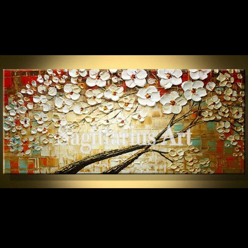 Pintado a mano paisaje majestuoso Cerezo abstracto Paletas cuchillo ...