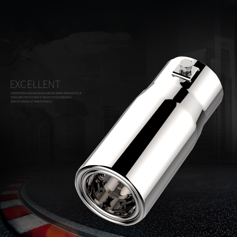1Pcs Universal Car <font><b>Exhaust</b></font> Pipe Muffler <font><b>Tip</b></font> Stainless Steel Pipe Chrome Trim Modified Car Tail Throat Inlet <font><b>57mm</b></font> Outlet 63mm image