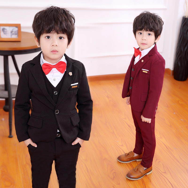 4pcs/set kids suits for boys blazer baby formal party clothes toddler boy wedding suits casual black blazers child outfits 2-12Y