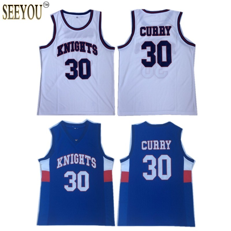 062fda205796 Retro  30 Stephen Curry Charlotte Christian High School Knights Blue White  Jersey Stitched Drop Shipping-in Basketball Jerseys from Sports    Entertainment ...