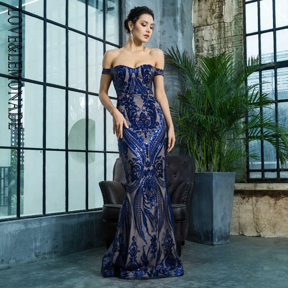 Love Lemonade Off the Shoulder Geometric Sequins Bodycon Long Dress  LM81343NAVY 0337640f21be