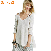 SanHuaZ Brand 2017 Autumn Winter Women S Sweaters Casual V Neck Long Sleeve Off The Shoulder