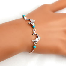 Simple New Exquisite Dolphine Pendant Bracelets for Women Cute Fashion Alloy Beads Chain Charm Bracelet Jewelry stylish pea clips beads alloy sweater chain for women