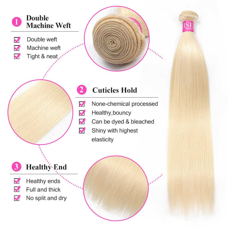 Прямые 613 пучков с фронтальной девственницы волос с фронтальной блонд пучки с закрытием ISEE волосы бразильские волосы переплетения пучки