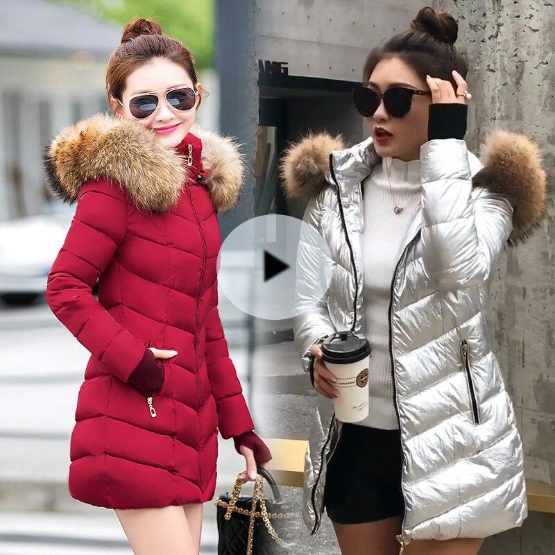 Warm Fur Lined Hooded Coat Womens Cotton Thicken Winter Jacket Parka Outwear