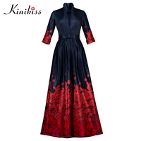 Kinikiss 2018 Spring Women Maxi Dress Belt Print Floral Color Block Travel Party Summer Dress Fashion