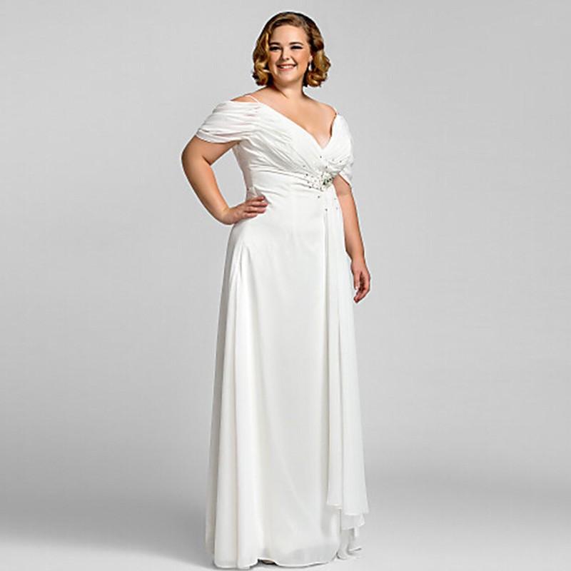 ad600e745 Wow الزفاف البهية الابيض زائد الحجم فساتين السهرة 2015 الشيفون ...