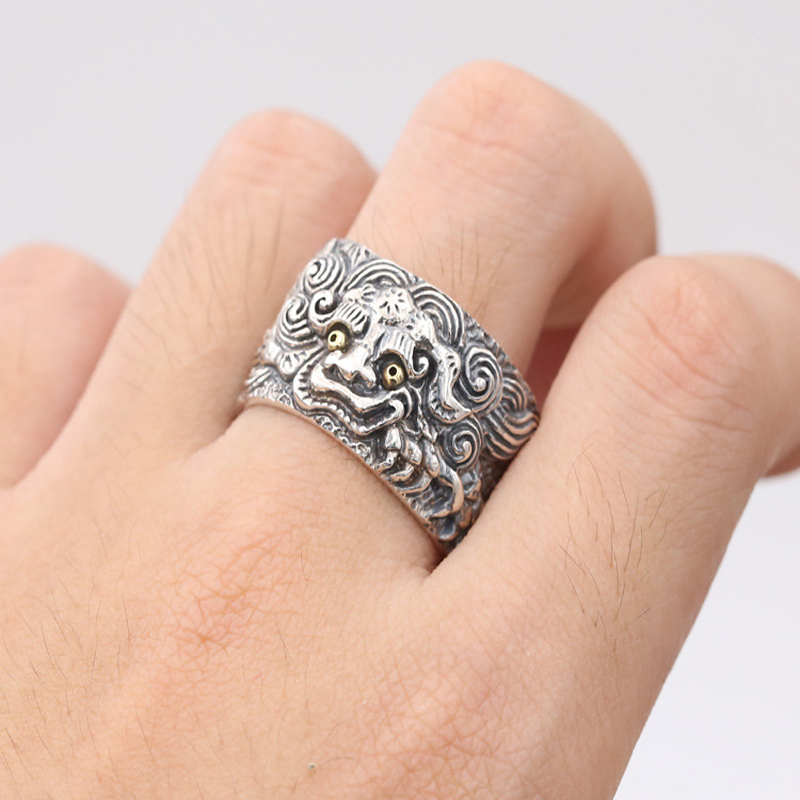 100% 925 argent Sterling dieu bête Sculpture courageux troupes anneau pour hommes femmes réglable Thai argent anneau bijoux bijoux fins