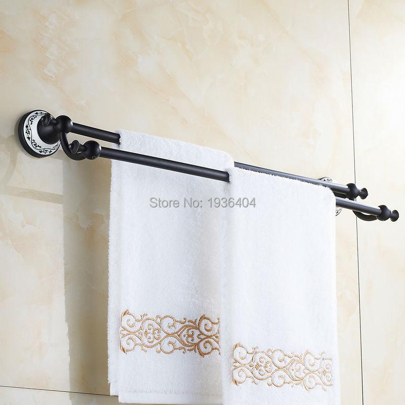 Double Black Bronze Towel Bar Romantic Porcelain Bathroom Towel Rack Wall Mounted Towel Bar TR1017 double black бермуды