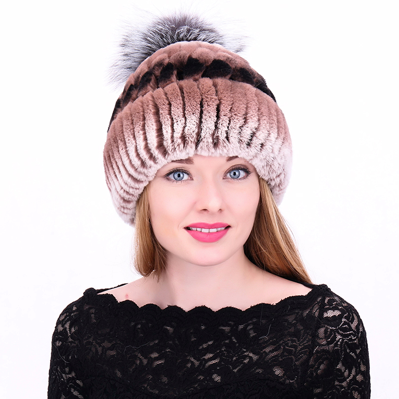 Women Warm Soft Cap Rabbit Fur With Fox Ball Beanies For Pompom Stripe Luxury Skullies Autumn Winter Women Fur Hat mz005