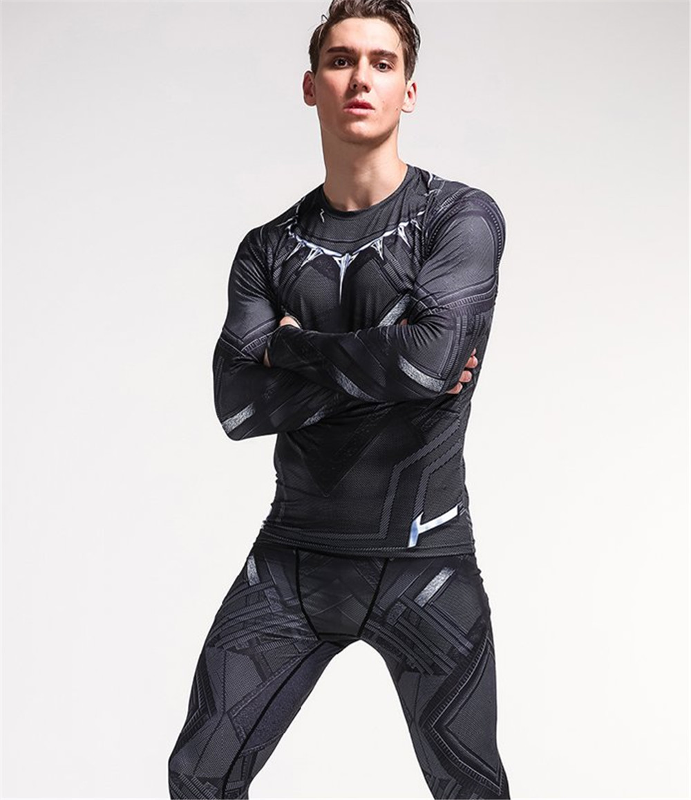 d570350fc33 long sleeved tight t shirt+pants Avengers Black Panther cosplay costume  sleeved T shirt men s sportswear fitness tee shirt on Aliexpress.com