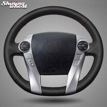 BANNIS черный чехол рулевого колеса автомобиля из натуральной кожи для Toyota Aqua- Prius 2009
