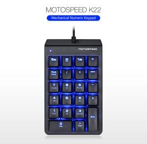 Image 5 - New Portable MOTOSPEED K22 Mechanical Numeric Keypad Wired 22 Keys Mini Numpad Backlight keyboard Laptop PC Notebook Desktop