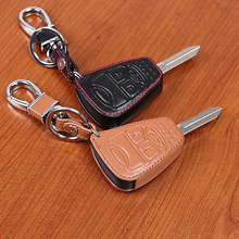 High Quality genuine leather car key cover for Chrysler 300 PT Cruiser Sebring Dodge for Jeep Compass Liberty 3 button Key Shell