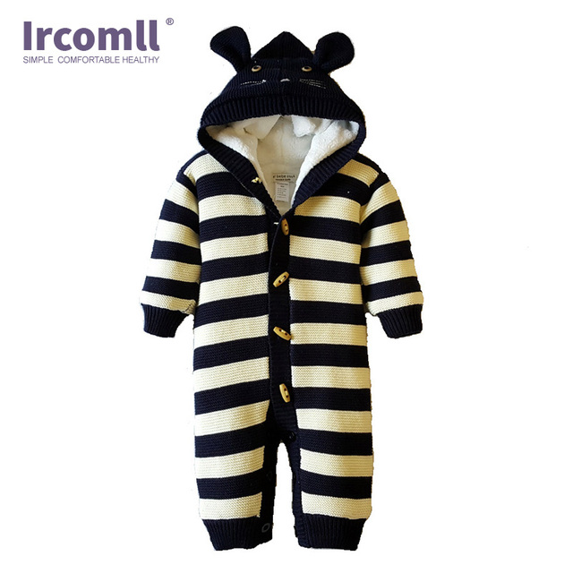 6fb9b8e8d Ircomll Thickened Warm Infant Baby Rompers Jumpsuit Inside Fleece ...