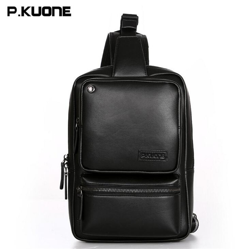 P.KUONE Young Men Chest Bag Multi-function New Handbags Luxury Business Messenger Bag High Quality Leather Casual Bags L039 bobo men s pockets chest bag sport men s bags bag multi function outdoor canvas small satchel wave new