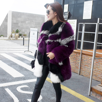 EMS Free Shipping 100% Real Fox Fur Coat, Natural Fox Whole Skin High Quality Outwear Special Warm BE-1622 1