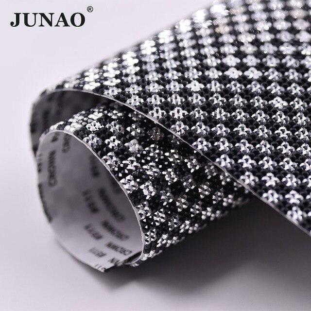 a615bb270f0a31 JUNAO 24x40cm Black Silver Self Adhesive Crystal Mesh Rhinestones Fabric  Trim Square Crystals Sheet Glue On Resin Strass Rolls