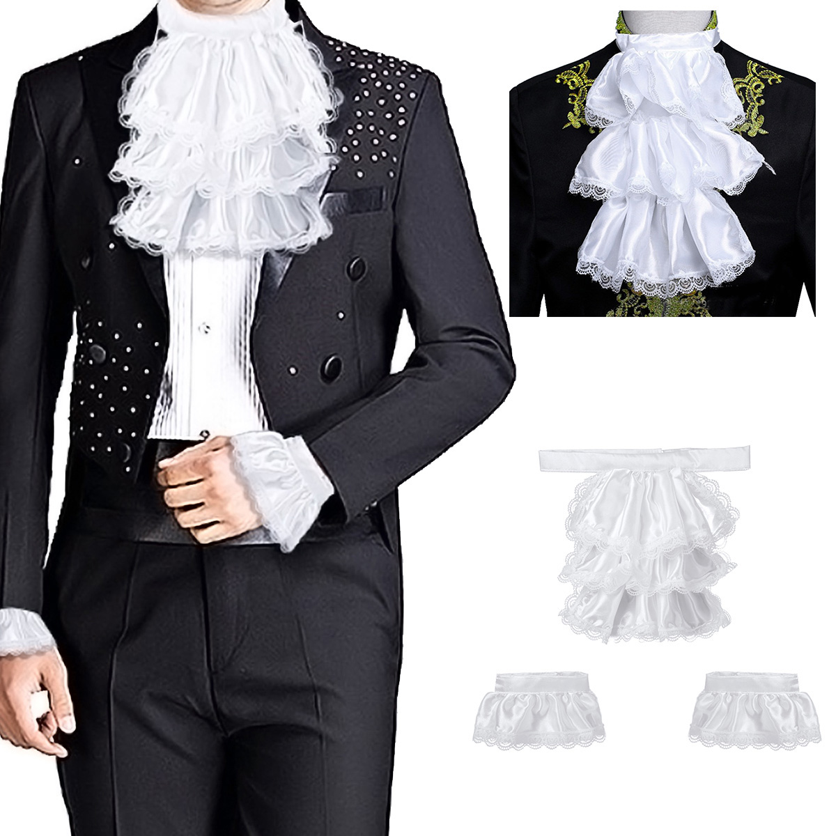 Adults Mens Victorian Lace Jabot And Cuffs For Kids Detachable Collar Stage Party Colonial Pirate Steampunk Costume Accessory