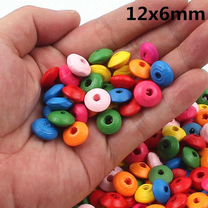 100 stks/partij 12x6mm Multicolour Natuurlijke Hout Platte Spacer Houten Kralen Voor Sieraden Maken Armband Diy Groothandel