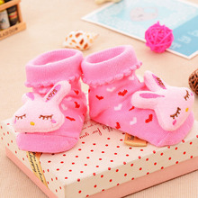 2019 explosion models childrens three-dimensional socks, non-slip rubber points, baby gift anti-shoe