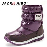 JACKSHIBO הילד החדש בני בנות מגפי שלג נעלי חורף התחממות ילדי נעלי שלג קטיפה חמות מגפי חורף מגפיים לנערות בתוך