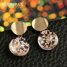 New Handmade Real Flower Earrings Gold Round Dangle Dried Flowers Ball Glass Drop For Women Fashion Jewelry pendientes