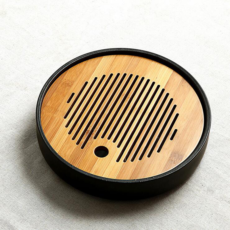 PINNY Bamboo Ceramics Kung Fu Tea Set Vintage Hand Made Bamboo Tea Tray Drainage Water Storage
