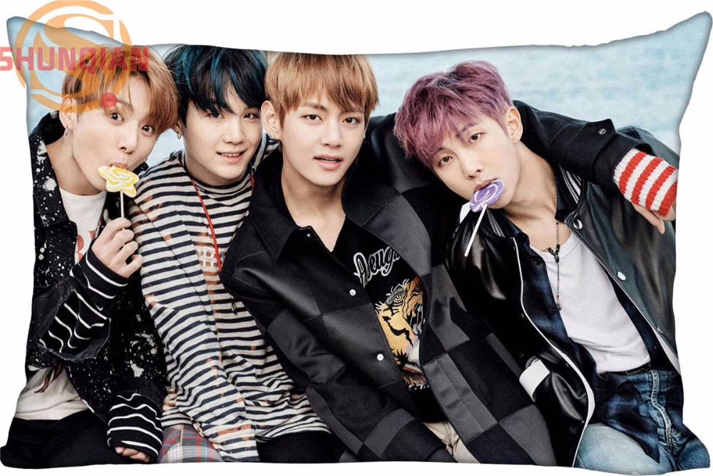 Custom BTS Bangtan Boys Rectangle Pillowcase Zipper wedding Decorative (20pc / per pack)Custom Pillow Case For Bedroom