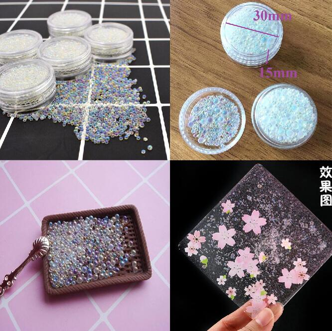 2019 New Style 200 Gram Bulk Pack Ab Water Bubble Bead Mix For Kawaii Uv Resin Filling Water Droplet 1mm To 3mm Assorted Water Drop Beads