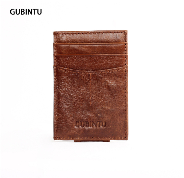 Brand Designer Top Wax Leather Men Wallet Magnetic Dollar Price Money Clip Male Carteras Mujer 5 Card Slots Leather Card Wallet
