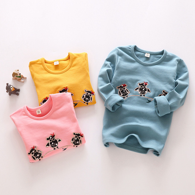 2016 muchachas del muchacho de manga larga camisetas de Algodón de terciopelo de Moda bordados de Aves Preciosas niños sudadera bebé embroma las tapas