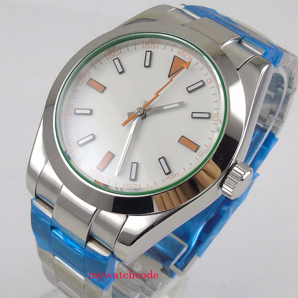40mm parnis white sterile dial sapphire glass automatic folding clasp mens watch 40mm parnis white dial vintage automatic movement mens watch p25