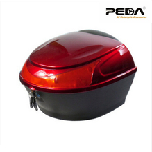 Free Shipping 2016 New Fashion Electric Scooter Top Case ABS One Helmet Hard Tail Box Luggage Trunk Motorcycle Motorbike Red box