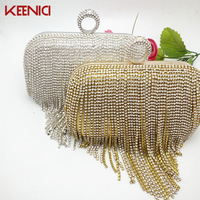 KEENICI Luxury Diamond Beaded Cluthes Long Tassel Bag Ladies Evening Bag Shoulder Chain Bag Party Banquet Evening Clutch Bags